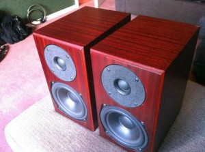 Totem Mite speakers in cherry color