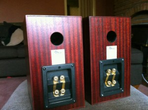 Totem Mite speakers in cherry color back