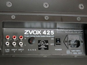 ZVOX 425 rear inputs