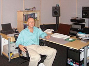 Lon Neumann at his desk/workstation in his SACD Mastering Room in Hollywood.