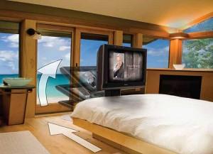 auton dream machine with hidden tv under the bed hdtv. Black Bedroom Furniture Sets. Home Design Ideas
