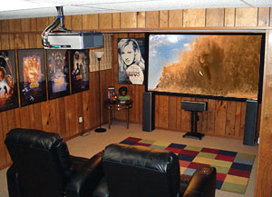 sweet home theater setup another great basement rig projector rh highfidelityreview com basement home theater tv vs projector Home Theater Seating